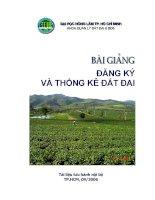 Bài giảng đăng ký và thống kê đất đai