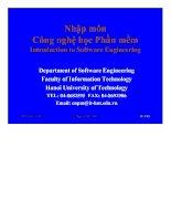 Bài giảng nhập môn công nghệ học phần mềm phần 6  Các chủ đề khác trong SE