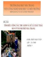 tìm hiểu công tác thu gom và xử lí chất thải rắn ở thành phố nha trang