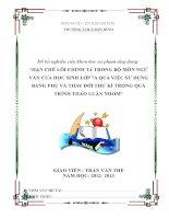 HẠN CHẾ LỖI CHÍNH TẢ TRONG BỘ MÔN NGỮ VĂN CỦA HỌC SINH LỚP 7A QUA VIỆC SỬ DỤNG BẢNG PHỤ VÀ THAY ĐỔI THƯ KÍ TRONG QUÁ TRÌNH THẢO LUẬN NHÓM