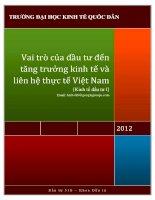 Vai trò của đầu tư đến tăng trưởng kinh tế và liên hệ thực tế Việt Nam