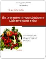 Tiểu luận : Phân Tích Thực Phẩm Đề tài: Xác định hàm lượng SO2  trong rau, quả và sản phẩm rau quả bằng phương pháp chuẩn độ thể tích.