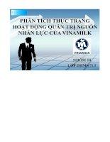 Đánh giá hoạt động Quản Lý nguồn nhân sự của công ty Vinamilk
