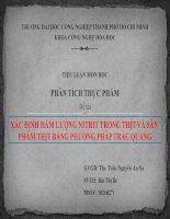 Tiểu luận môn học Phân tích thực phẩm. Đề tài: XÁC ĐỊNH HÀM LƯỢNG NITRIT TRONG THỊT VÀ SẢN PHẨM THỊT BẰNG PHƯƠNG PHÁP TRẮC QUANG