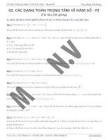 Các bài toán trọng tâm về hàm số  bài tập câu phụ khảo sát
