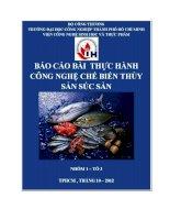 Bài thực hành Công nghệ chế biến súc sản thủy sản