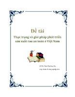 ĐỀ TÀI: Thực trạng và giải pháp phát triển sản xuất rau an toàn ở Việt Nam