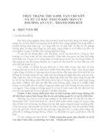 THỰC TRẠNG THU GOM, VẬN CHUYỂN VÀ XỬ LÝ RÁC THẢI Ở KHU DÂN CƯ PHƯỜNG AN CỰU  THÀNH PHỐ HUẾ