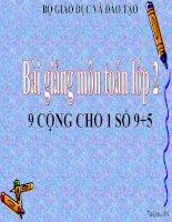 bài giảng toán 2 chương 2 bài 3 9 cộng với một số 9+5