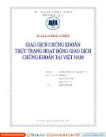 Tiểu luận thị trường tài chính Giao dịch chứng khoán thực trạng giao dịch chứng khoán tại Việt Nam
