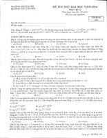 Đề thi thử Vật Lí lần 6 năm 2014  Chuyên sư phạm Hà Nội