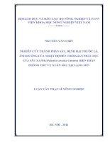 Nghiên cứu thành phần sâu, bệnh hại thuốc lá, ảnh hưởng của nhiệt độ đến thời gian phát dục của sâu xanh (heliothis assulta guenee) biện pháp phòng trừ vụ xuân 2011 tại lạng sơn