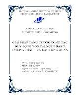 Giải pháp nâng cao hiệu quả huy động vốn tại ngân hàng TMCP Á Châu Chi nhánh Lạc Long Quân