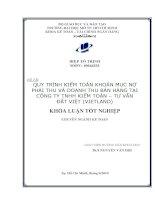 Quy trình kiểm toán khoản mục nợ phải thu và doanh thu bán hàng tại Công ty TNHH kiểm toán tư vấn Đất Việt (Vietland)