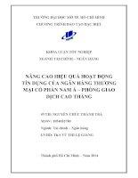 Nâng cao hiệu quả hoạt động tín dụng của ngân hàng thương mại cổ phần Nam Á Phòng giao dịch Cao Thắng