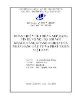 Hoàn thiện hệ thống xếp hàng tín dụng nội bộ đối với khách hàng doanh nghiệp của ngân hàng đầu tư và phát triển Việt Nam