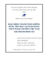Hoạt động thanh toán không dùng tiền mặt tại ngân hàng TMCP ngoại thương Việt Nam Chi nhánh Bình Tây