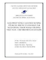 Giải pháp nâng cao chất lượng tín dụng trung và dài hạn tại ngân hàng TMCP ngoại thương Việt Nam