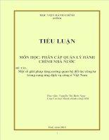 Một số giải pháp tăng cường quan hệ đối tác công tư trong cung ứng dịch vụ công ở Việt Nam  TIỂU LUẬN MÔN HỌC PHÂN CẤP QUẢN LÝ HÀNH CHÍNH NHÀ NƯỚC