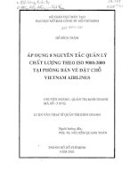 Áp dụng 8 nguyên tắc quản lý chất lượng theo ISO 9000 2000 tại phòng bán vé đặt chỗ Vietnam Airlines