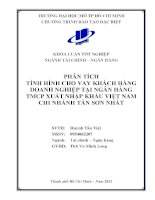 Phân tích tình hình cho vay khách hàng doanh nghiệp tại ngân hàng TMCP xuất nhập khẩu Việt Nam Chi nhánh Tân Sơn Nhất
