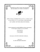 Applying communicative language teaching in teaching grammar at Long Xuyen high school