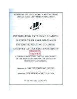 Intergrating extensive reading in firstyear English major intensive reading courses A survey at Tra Vinh university