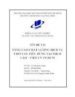 Nâng cao chất lượng dịch vụ cho vay tiêu dùng tại NHLD Lào Việt chi nhánh thành phố Hồ Chí Minh