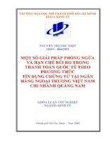 Một số giải pháp phòng ngừa và hạn chế rủi ro trong thanh toán quốc tế theo phương thức tín dụng tại ngân hàng ngoại thương Việt Nam chi nhánh Quảng Nam