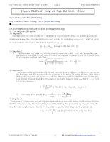 (HOT) Bài tập tổng hợp về Mạch RLC nối tiếp có R,L,C,f biến thiên hay và khó