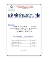 phân tích báo cáo tài chính công ty cp xnk thủy sản an giang 2009-2011