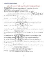Các công thức giải nhanh hóa học chọn lọc