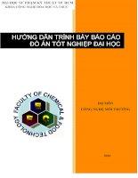HƯỚNG dẫn TRÌNH bày báo cáo đồ án tốt NGHIỆP đại học bộ môn CÔNG NGHỆ môi TRƯỜNG