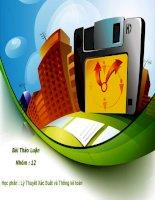 slide xstk ĐHTM, bài thảo luận môn lý thuyết xác suất và thống kê toán ĐH Thương Mại