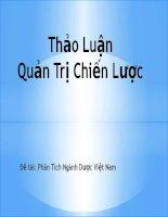Đề tài số 3 quản trị chiến lược: Phân tích ngành dược Việt Nam