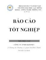 Báo cáo thực tập ngành công nghệ thông tin tại công ty TNHH KHONET