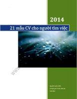21 mẫu CV cho người mới đi tìm việc (2015)