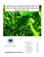 Tiểu luận chiến lược marketing quốc tế của công ty Tâm Châu cho chè Olong vào thị trường Nga