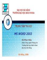 tài liệu hướng dẫn sử dụng ms word 2003