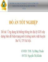 Ứng dụng hệ thống thông tin địa lý GIS xây dựng bản đồ hiện trạng môi trường nước mặt huyện Ba Vì, TP Hà Nội.