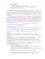 đọc hiểu + đáp án một người hà nội