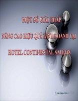 slide báo cáo một số giải pháp nâng cao hiệu quả kinh doanh tại hotel continental saigon