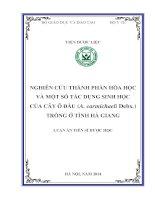Đề Tài : Nghiên cứu thành phần hoá học và một số tác dụng sinh học của cây ô đầu (aconitum carmichaeli debx.) trồng ở tỉnh Hà Giang (Full Text )