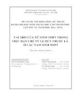 VAI TRÒ CỦA NỮ SINH THPT TRONG VIỆC HẠN CHẾ TỶ LỆ HÚT THUỐC LÁ   Ở CÁC NAM SINH THPT
