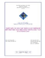 Thiết kế các bài tập thảo luận nhóm để hỗ trợ việc dạy học 8 bài trong SGK Vật lí 12 nâng cao  Nguyễn Thị Ngọc Hà.