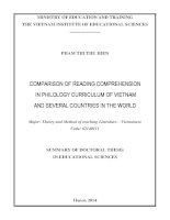 Comparison of reading comprehension in philology curriculum of vietnam and several countries in the world