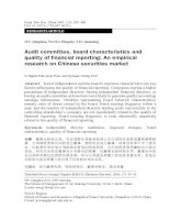 qinghua et al - 2007 - audit committee, board characteristics and quality of financial reporting - an empirical research on chinese securities market