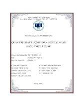 Tiểu luận quản trị chất lượng Quản trị chất lượng toàn diện tại ngân hàng TMCP Á Châu