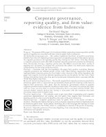 siagian et al - 2013 - corporate governance, reporting quality, and firm value - evidence from indonesia