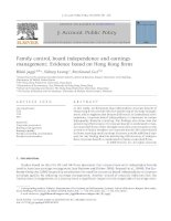jaggi et al - 2009 - family control, board independence and earnings management evidence based on hong kong firms